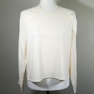 Oak + Fort Cream Blouse With Ruffled Shoulders
